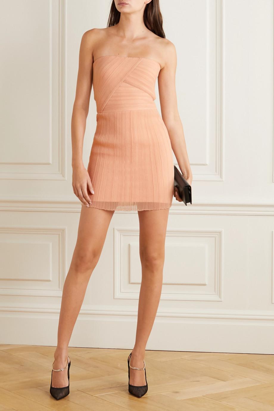 Hervé Léger Strapless crepon and bandage mini dress