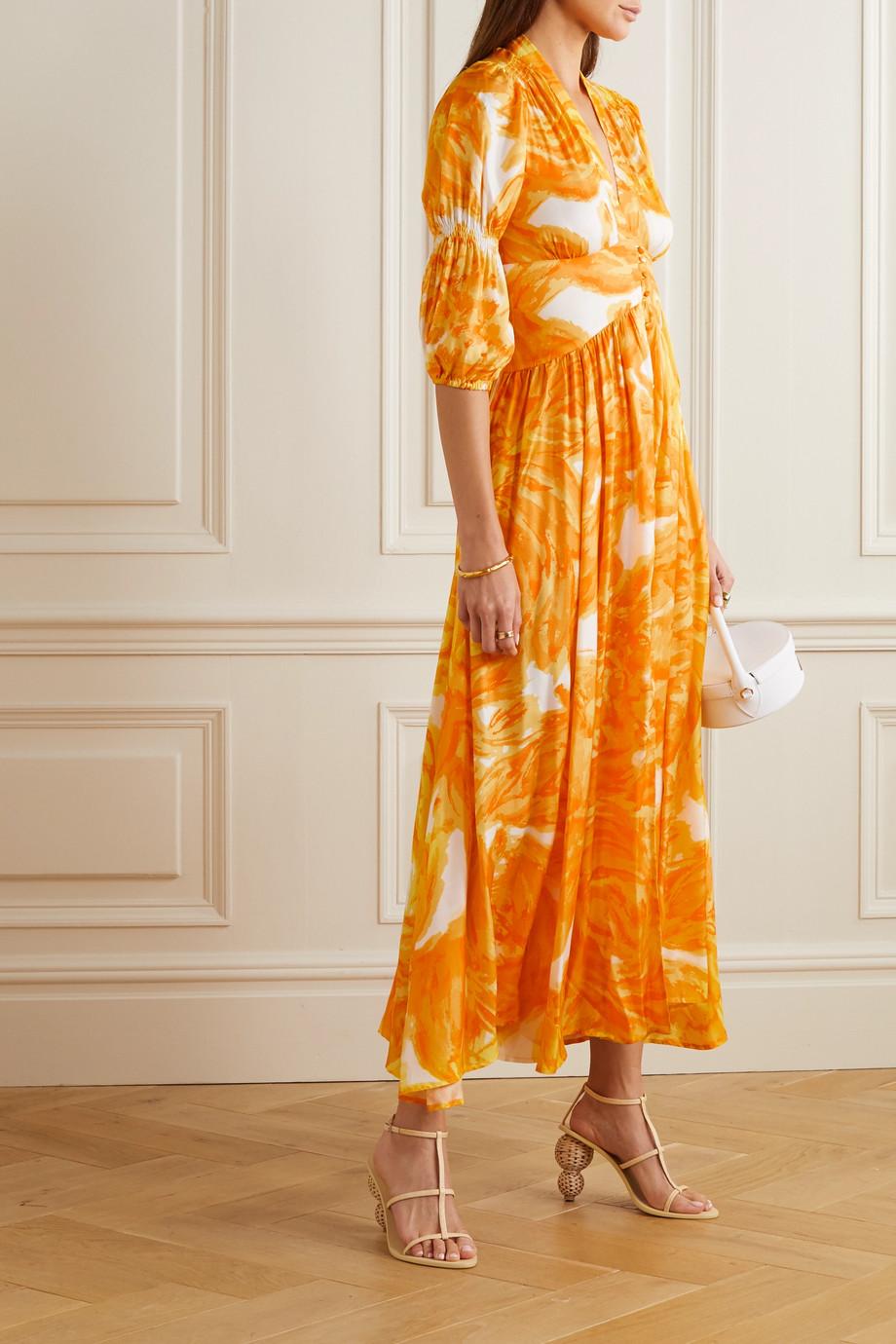 Cult Gaia Willow printed crepe de chine midi dress