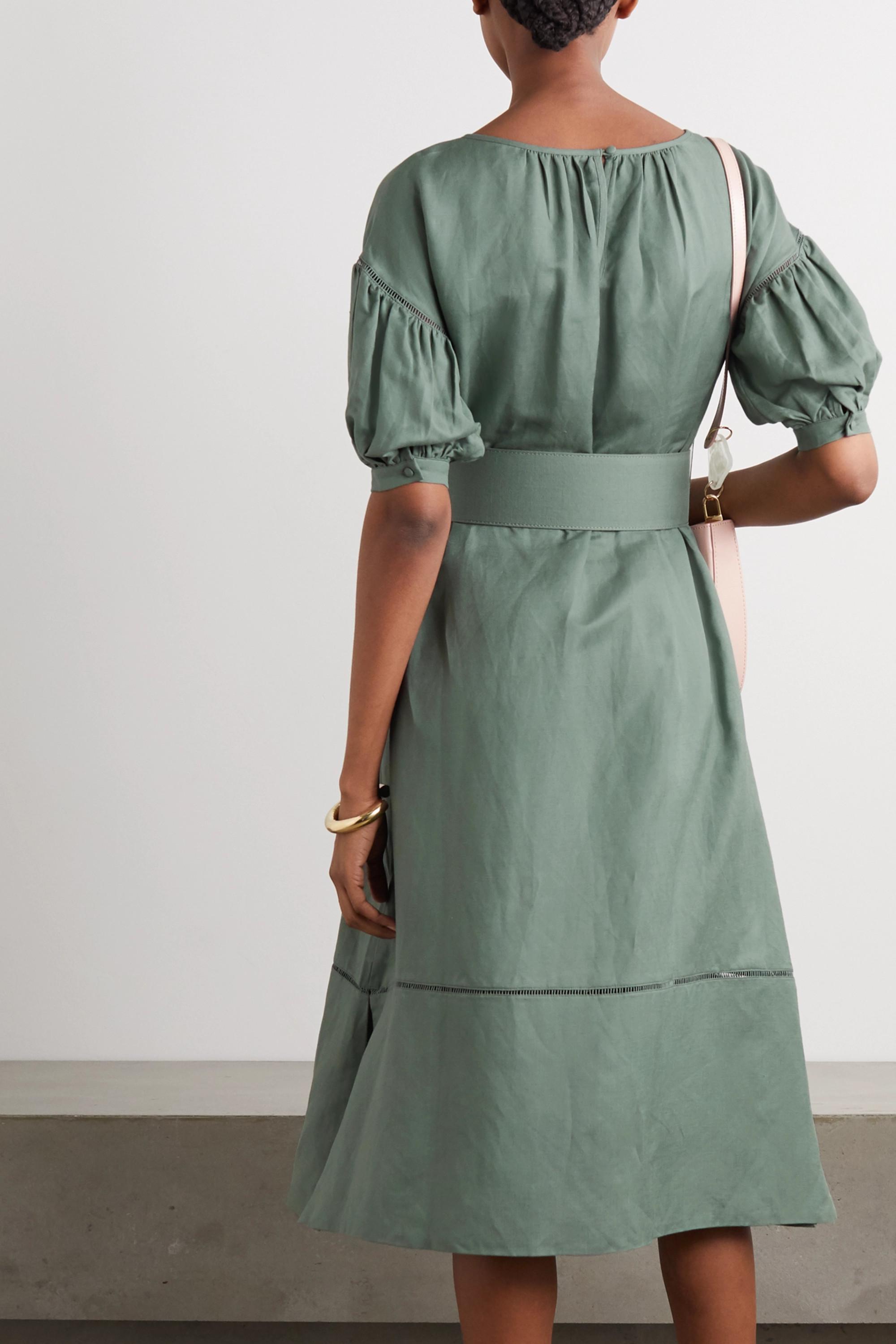 Cult Gaia Aiko belted lattice-trimmed linen-blend midi dress