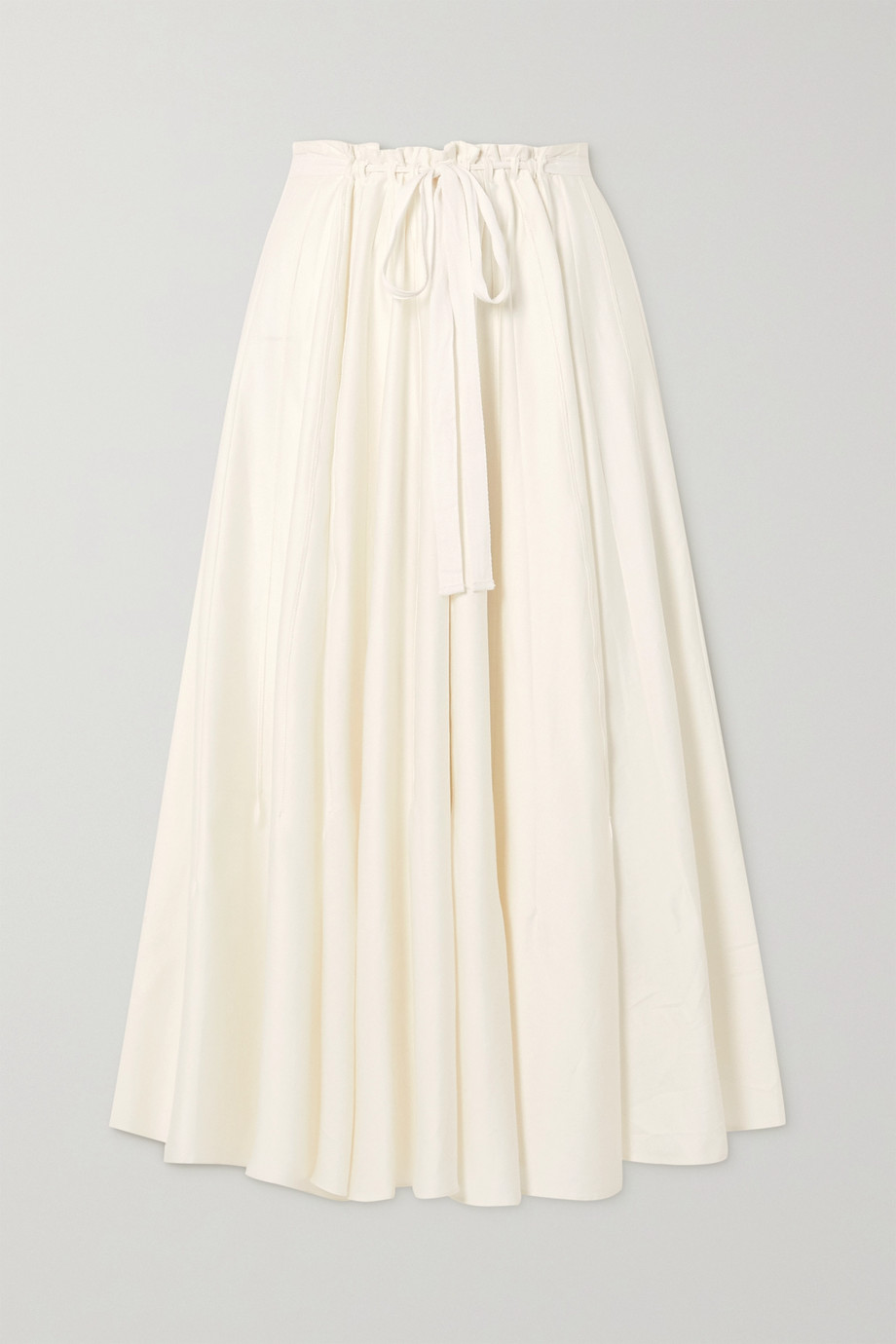 Cult Gaia Sistra belted pleated stretch-cotton satin midi skirt