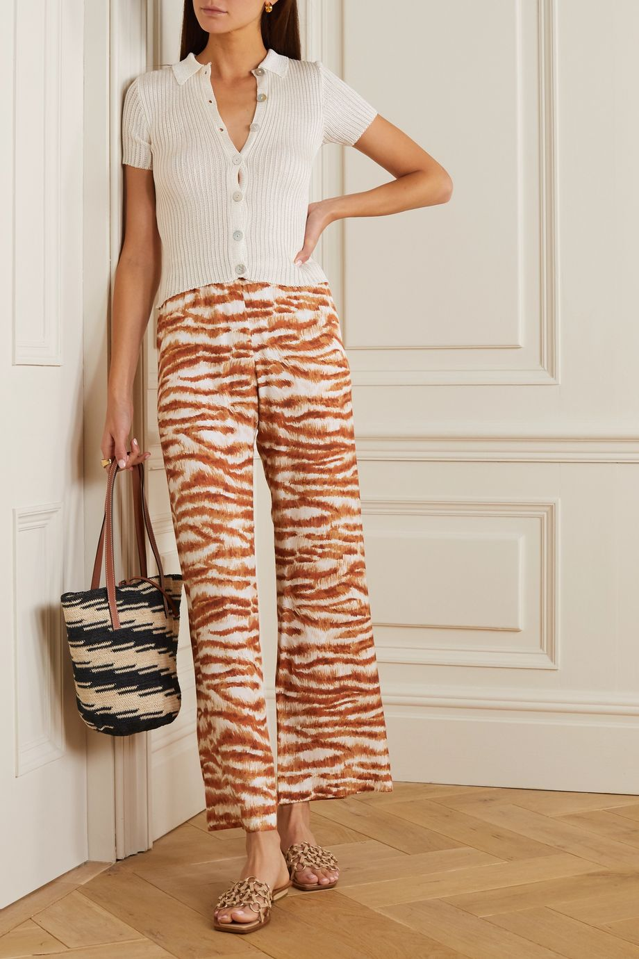 Cult Gaia Stacie printed jersey wide-leg pants