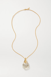 Chloé Gold-tone, quartz and crystal necklace