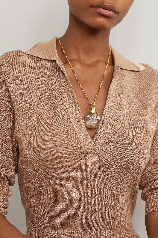 Chloé Gold-tone, quartz and crystal necklace
