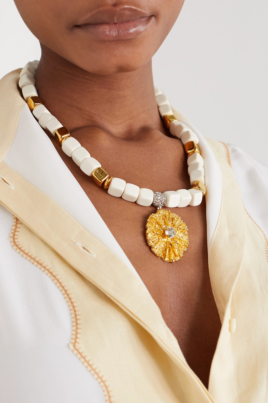 Chloé Wood, gold-tone and crystal necklace