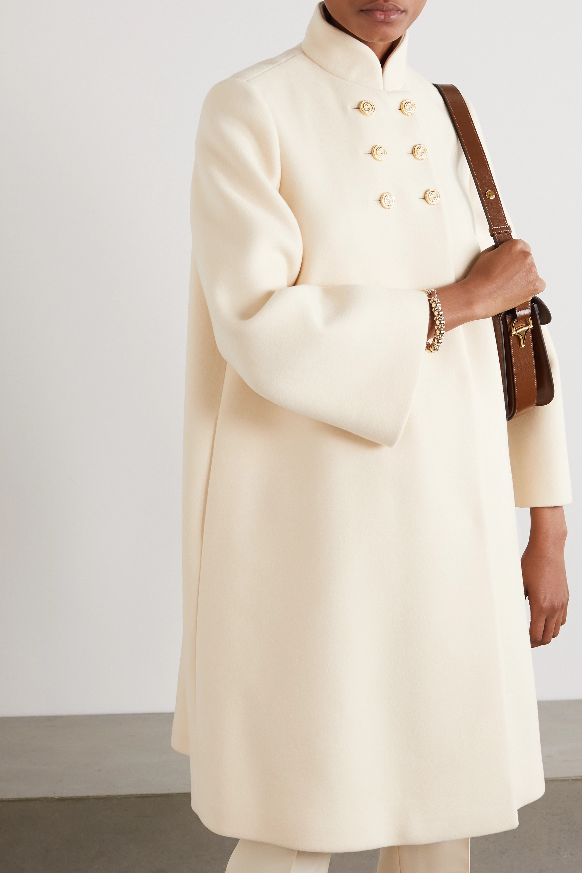 Gucci Button-embellished double-breasted wool-blend felt coat