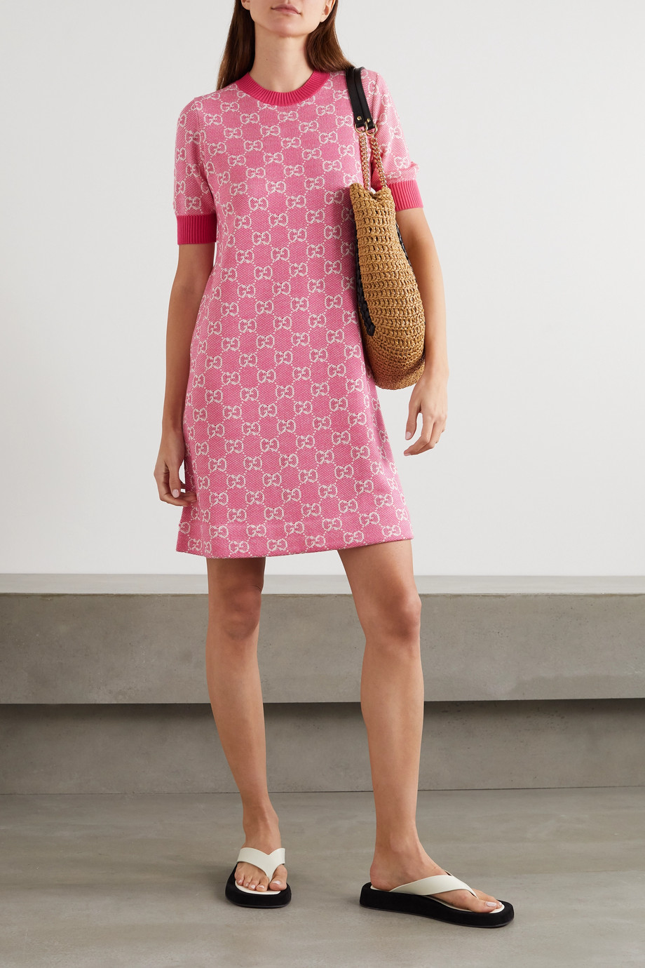 Gucci Intarsia wool and cotton-blend mini dress