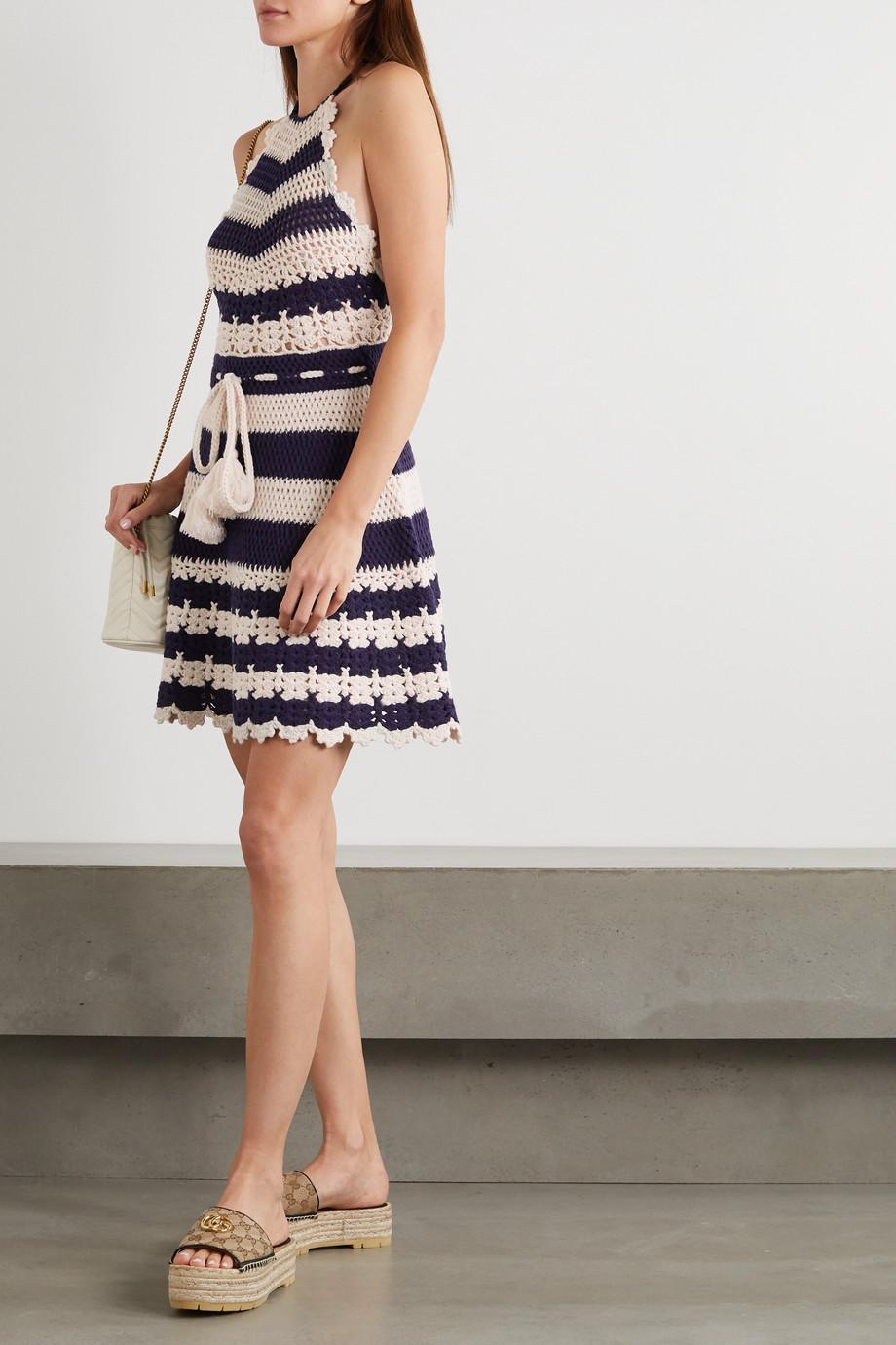 Gucci Tasseled striped crocheted wool halterneck mini dress
