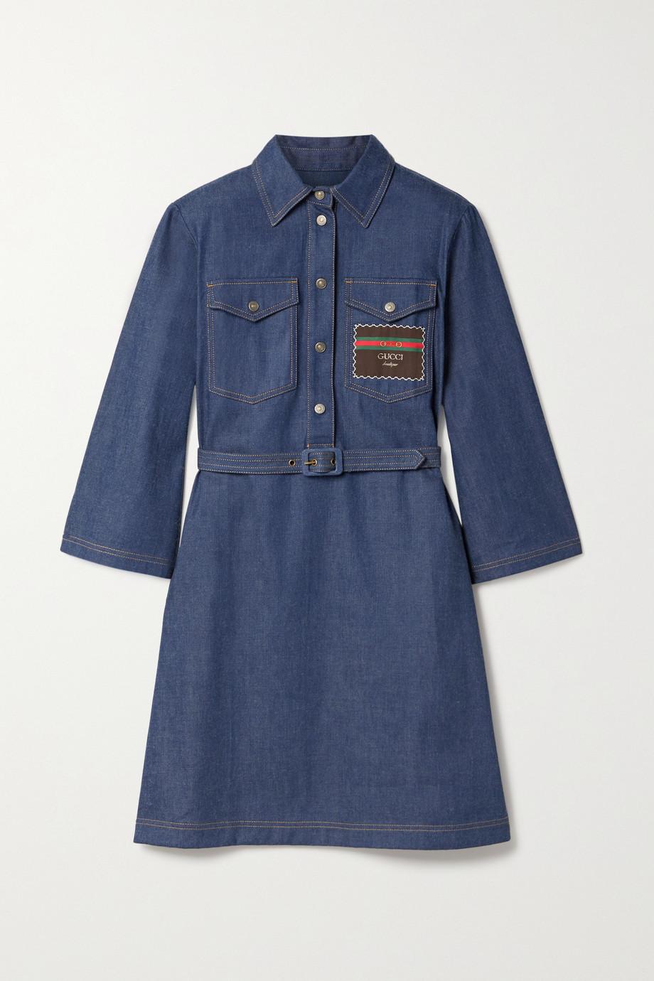 Gucci Kleid aus Denim mit Applikation und Gürtel