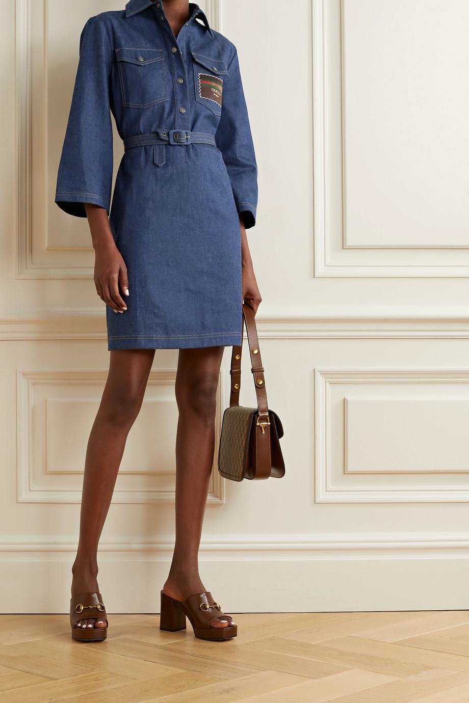 Gucci Belted appliquéd denim dress