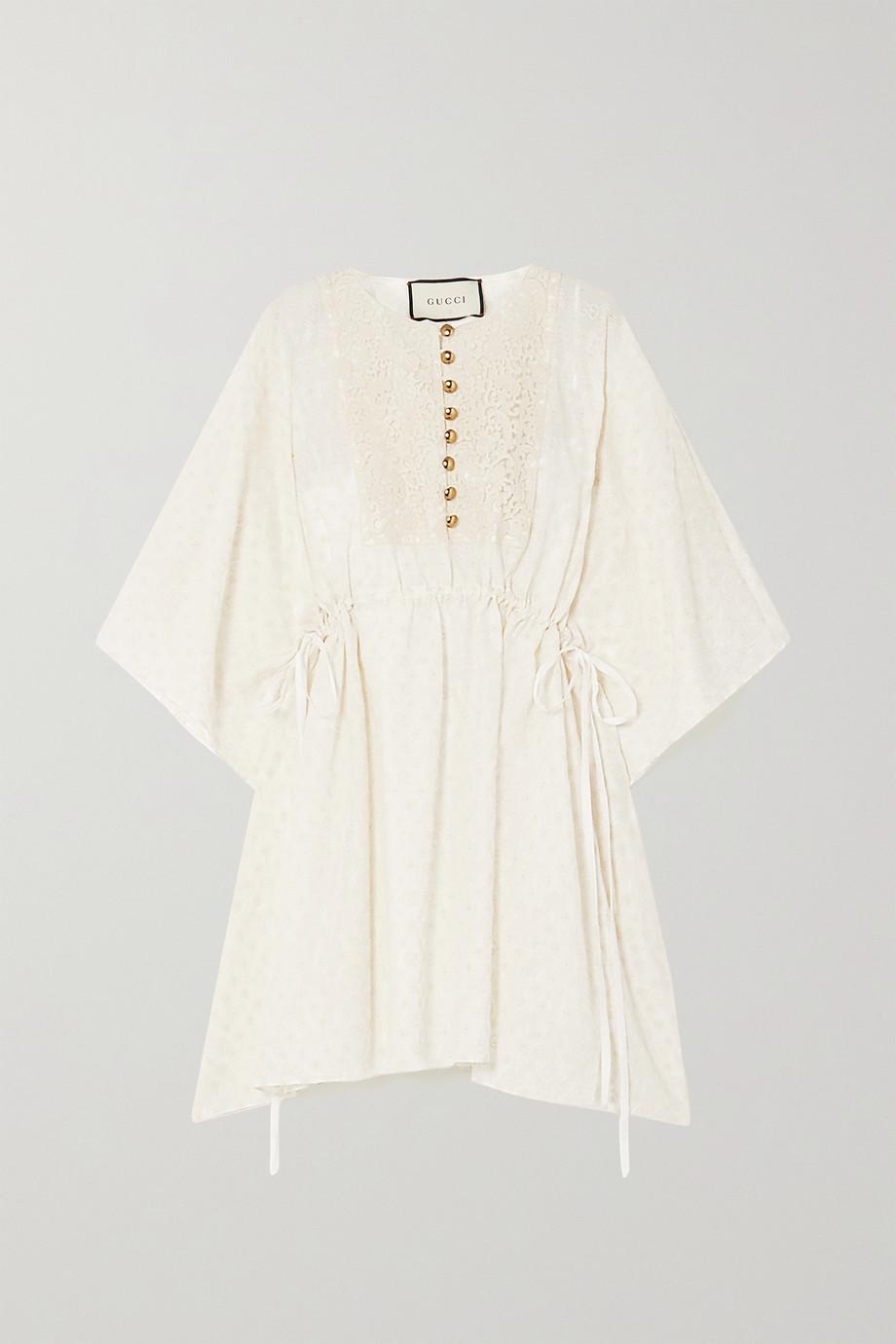 Gucci Lace-trimmed cotton-blend jacquard kaftan
