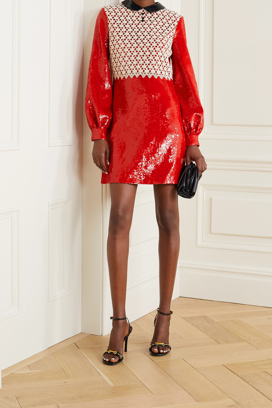 Gucci Patent-leather and crochet-trimmed sequined silk-satin mini dress
