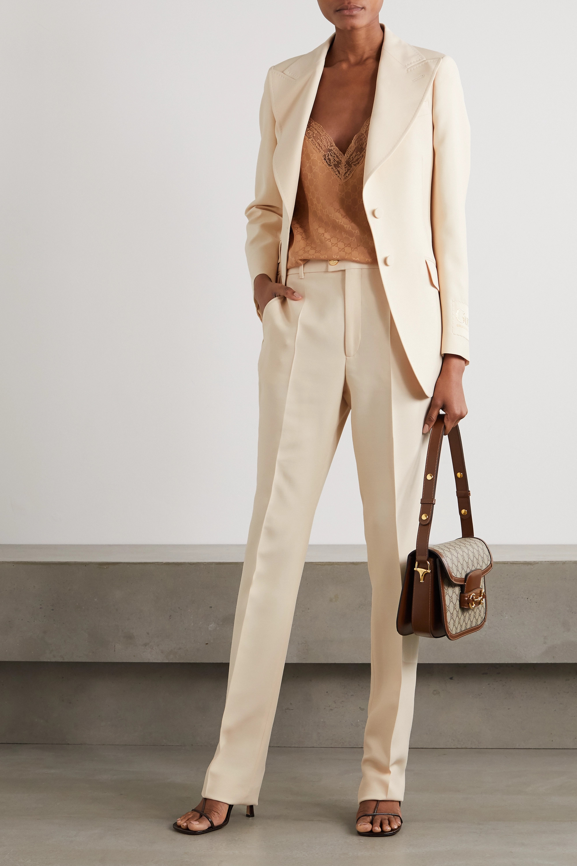 Gucci Appliquéd silk and wool-blend blazer