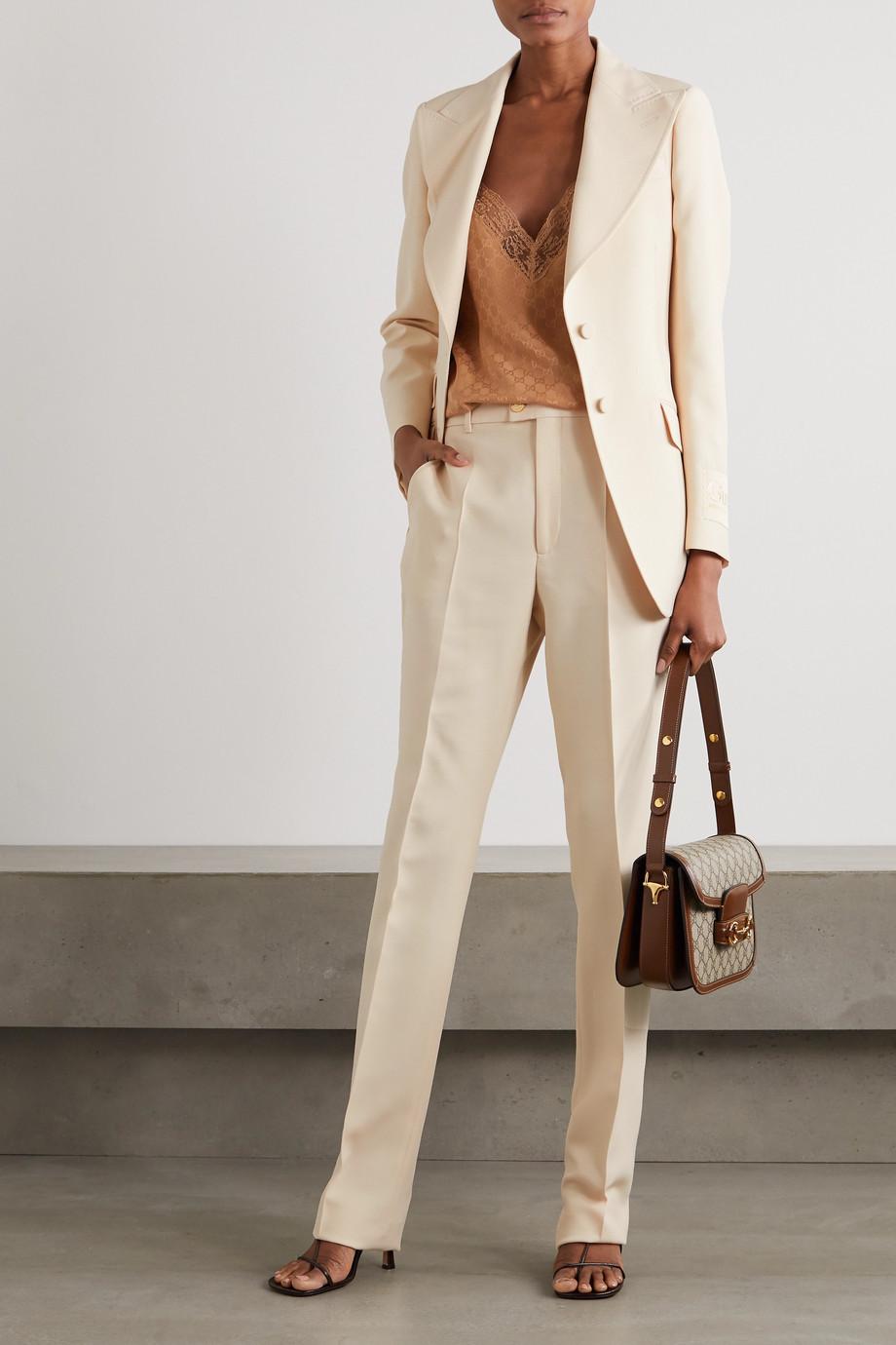 Gucci Blazer aus einer Seiden-Wollmischung mit Applikation