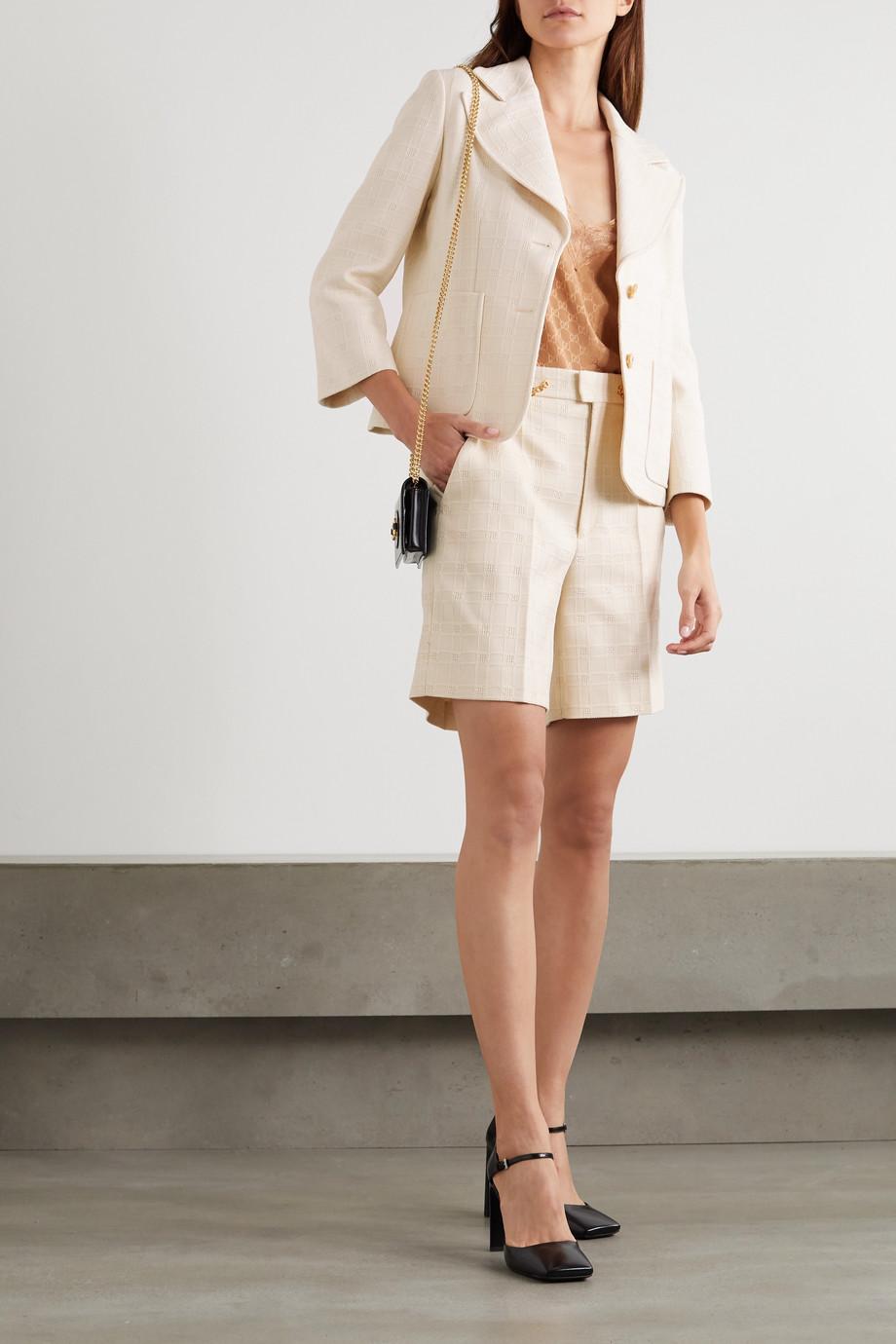 Gucci 棉质羊毛混纺提花西装外套