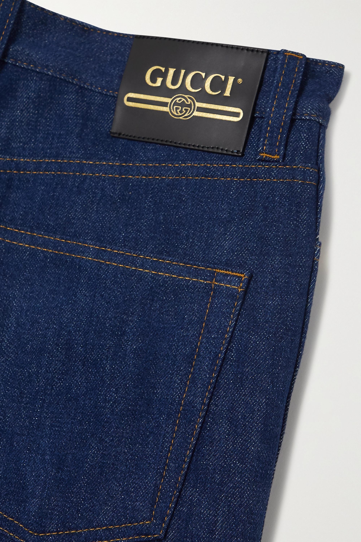 Gucci Appliquéd high-rise wide-leg jeans