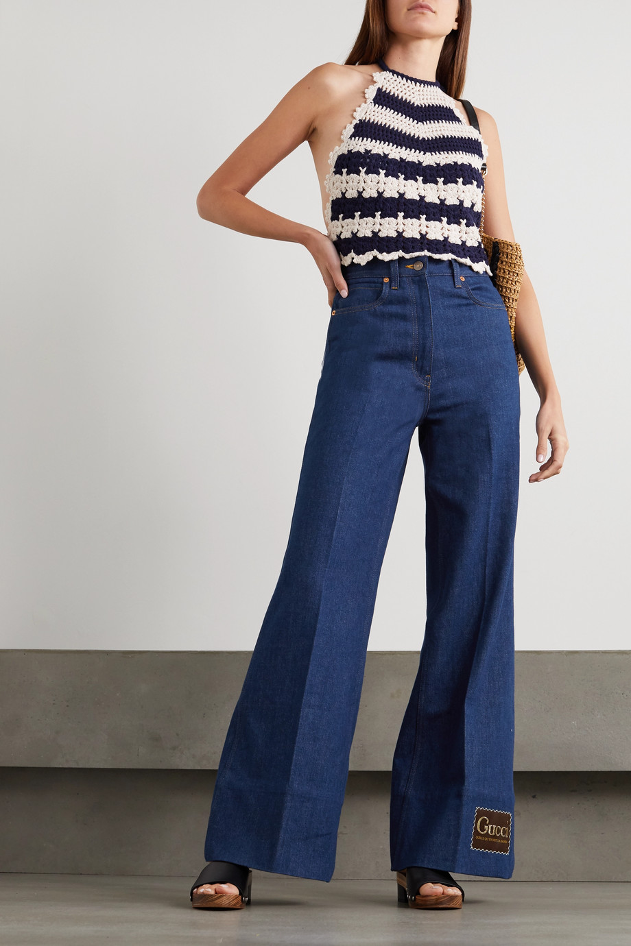 Gucci Appliquéd high-rise wide-leg jeans