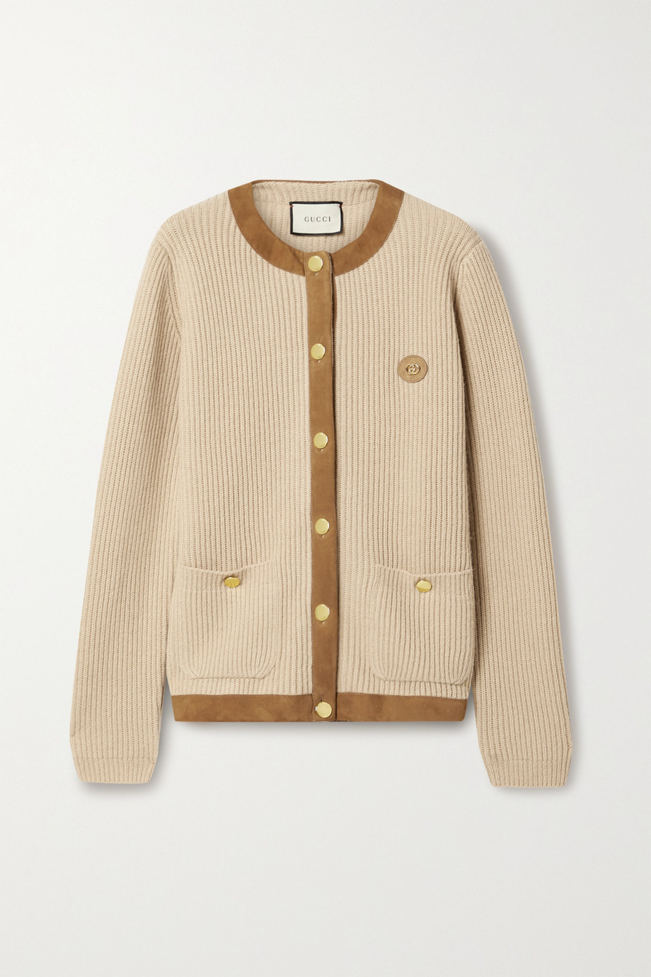 Gucci Embellished suede-trimmed ribbed camel hair cardigan