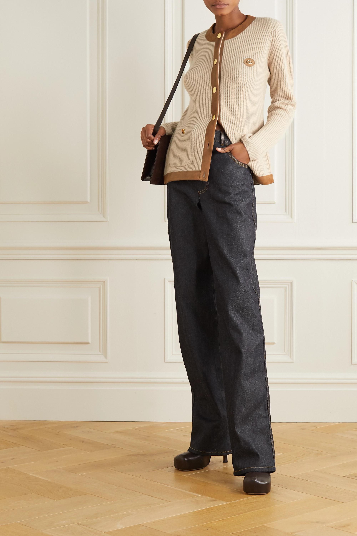 Gucci Cardigan aus geripptem Kamelhaar mit Velourslederbesätzen und Logodetail