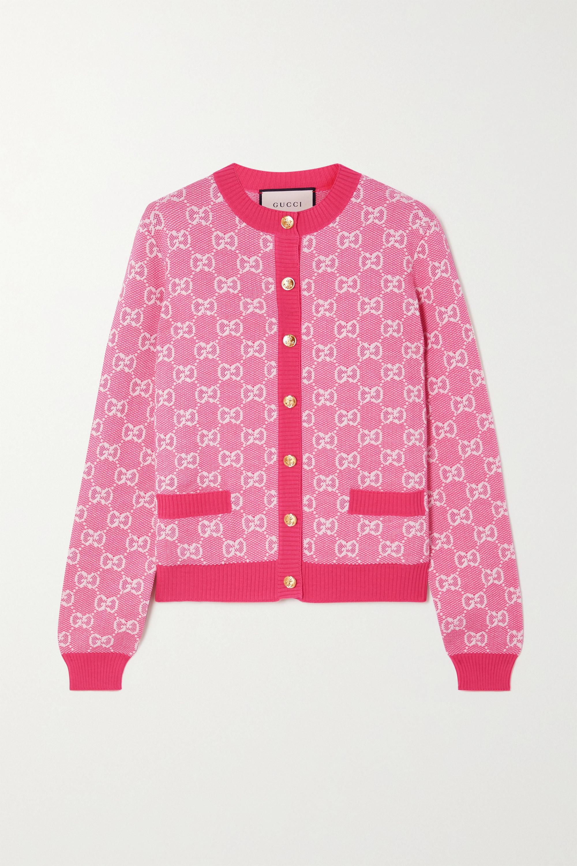 Gucci Cardigan aus einer Woll-Baumwollmischung mit Intarsienmuster
