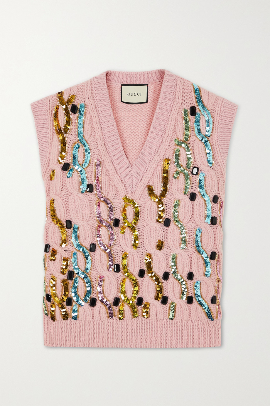 Gucci Embellished cable-knit wool vest