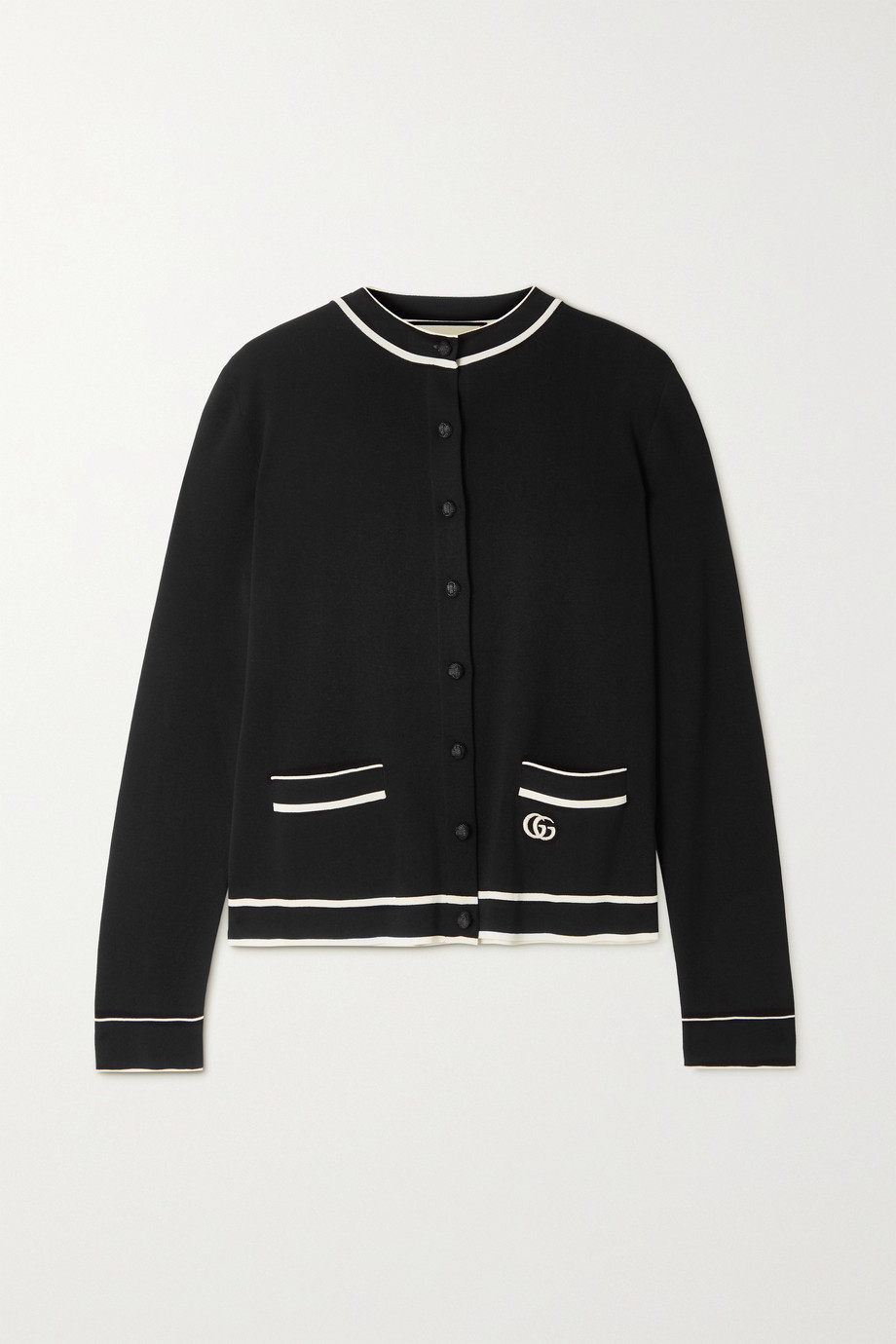 Gucci Striped embroidered knitted cardigan