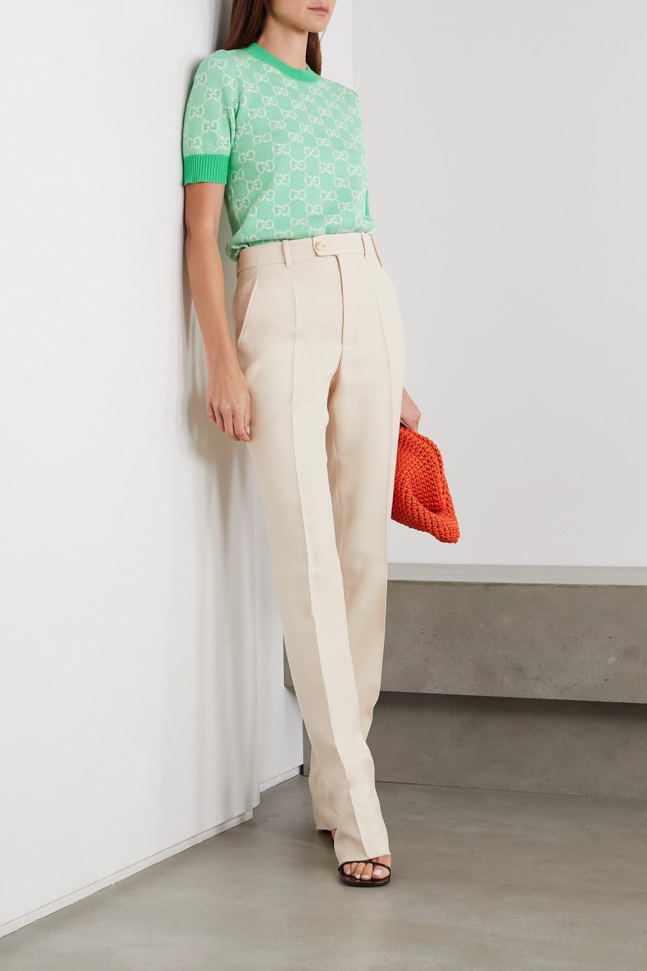 Gucci Pullover aus einer Woll-Baumwollmischung mit Intarsienmuster
