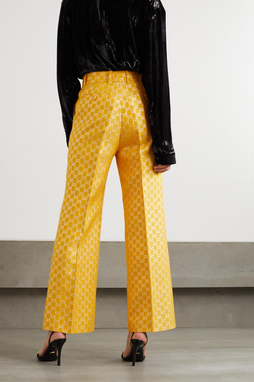 Gucci Metallic wool and silk-blend jacquard wide-leg pants