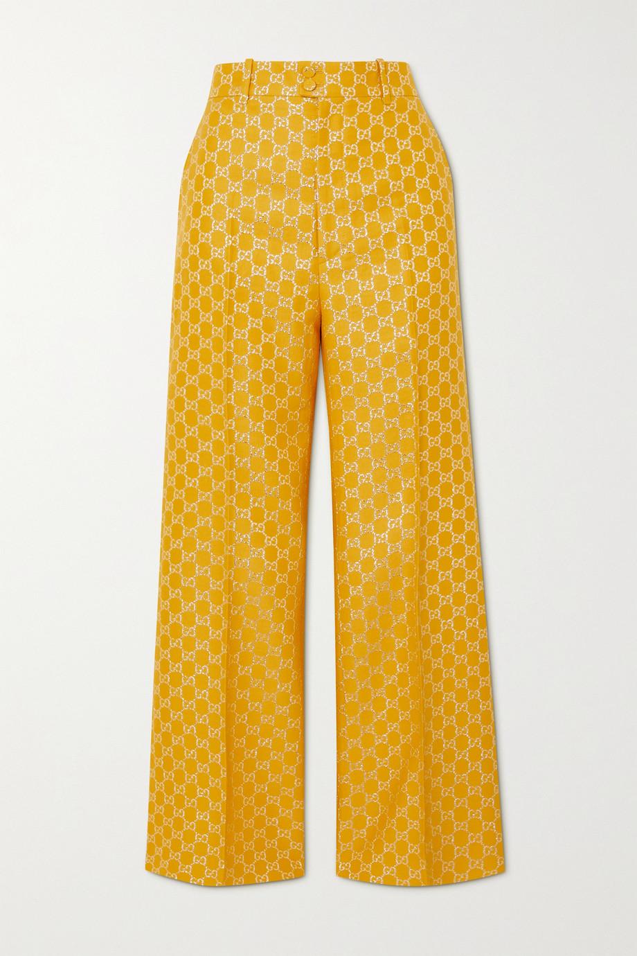 Gucci Hose mit weitem Bein aus Metallic-Jacquard aus einer Woll-Seidenmischung