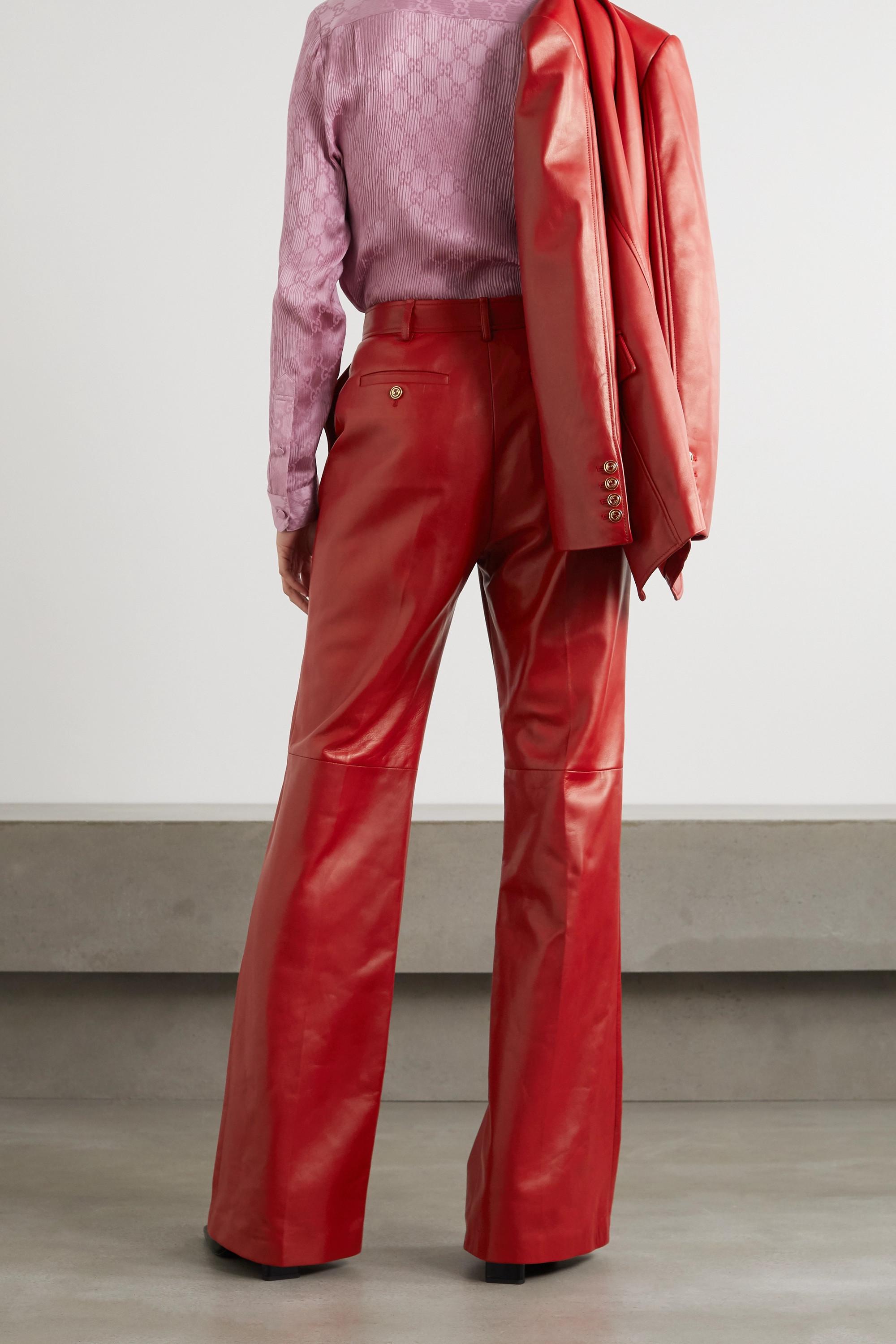 Gucci Leather straight-leg pants