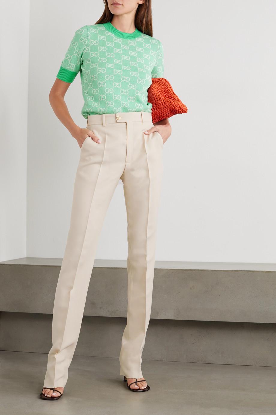 Gucci Hose mit geradem Bein aus einer Seiden-Wollmischung