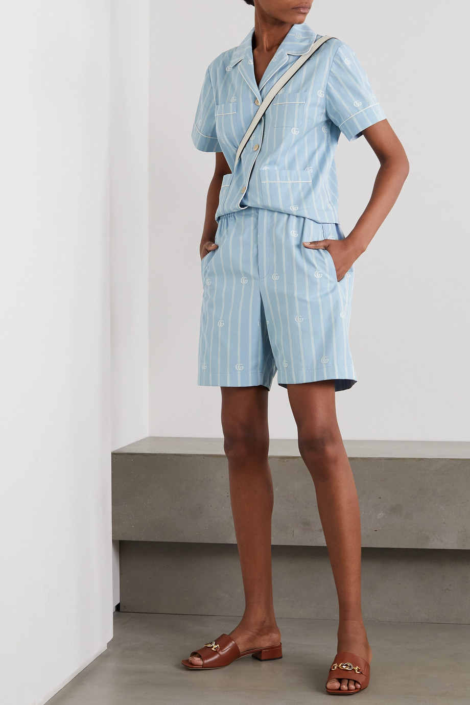 Gucci Striped cotton-jacquard shorts