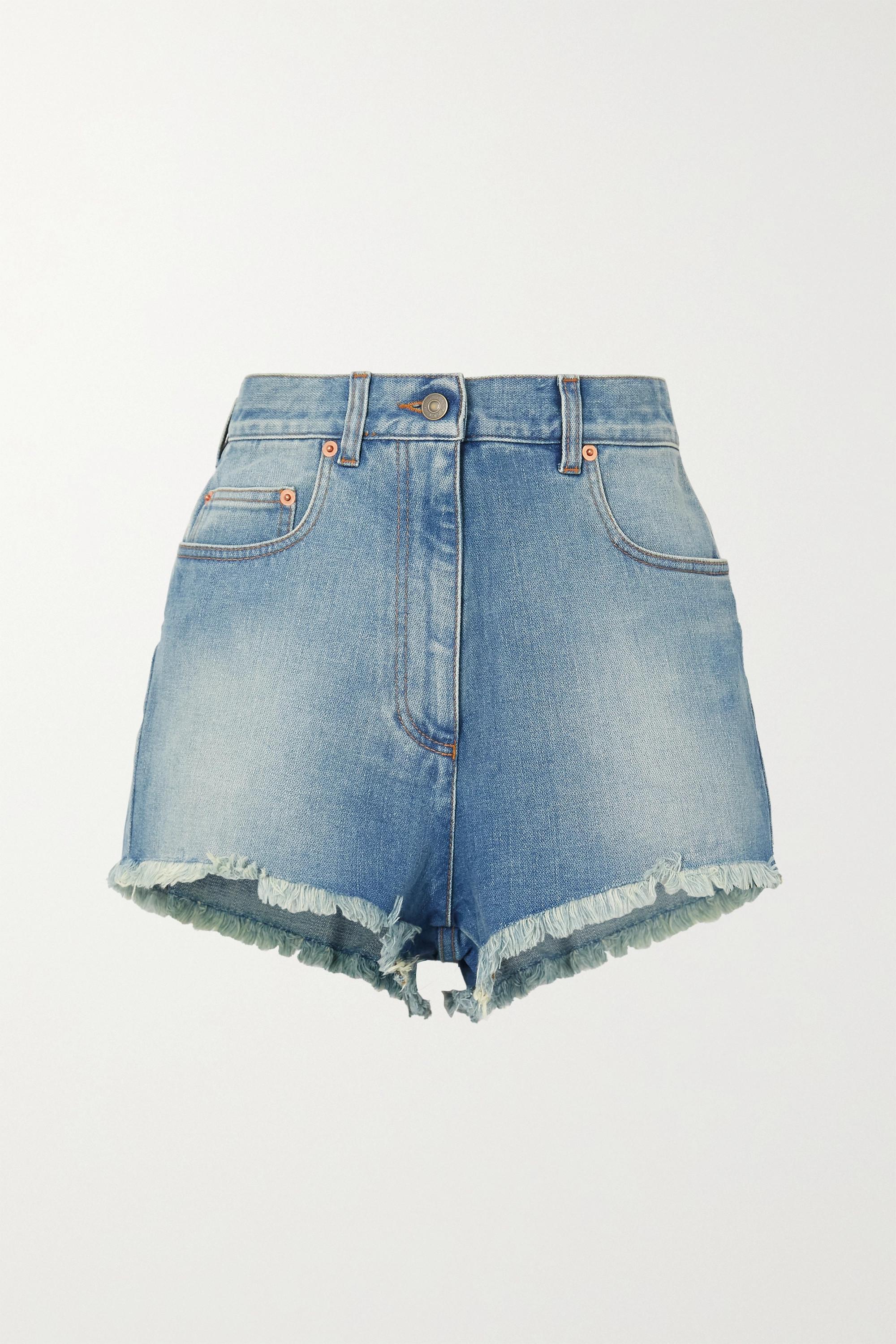 Gucci - Appliquéd frayed denim shorts