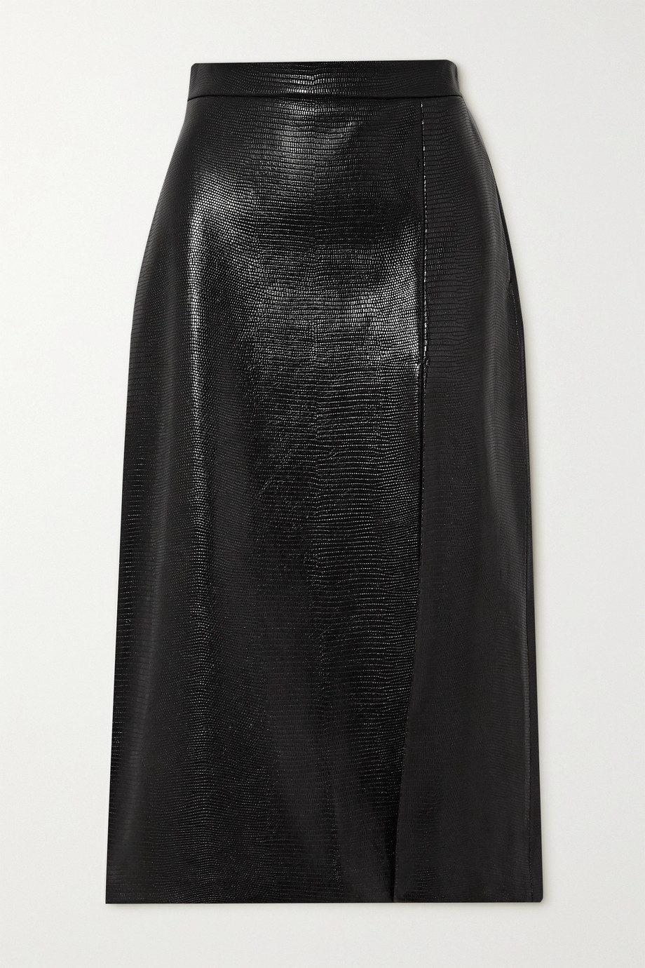 Gucci Lizard-effect leather midi skirt