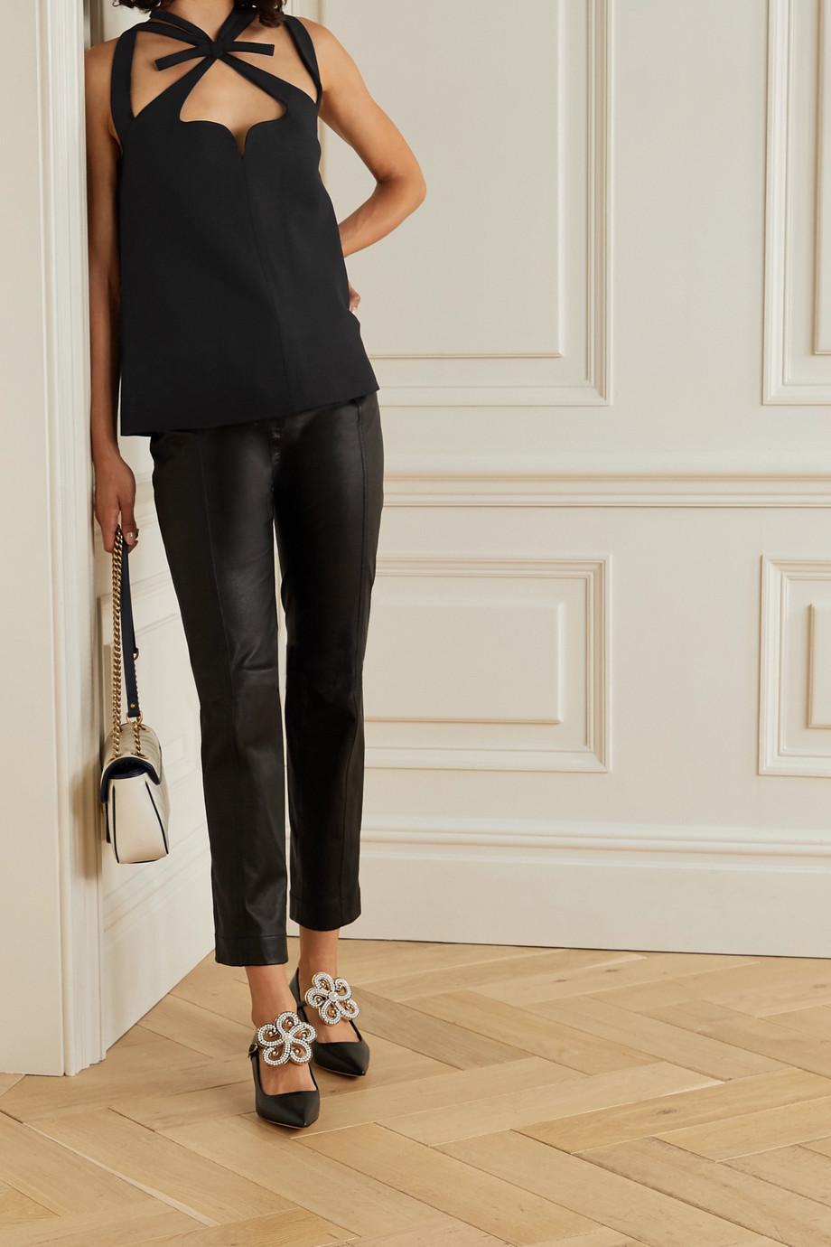 Gucci Oberteil aus einer Seiden-Wollmischung mit Schleifen