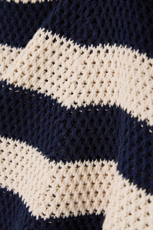 Gucci Appliquéd striped crocheted cotton-blend top