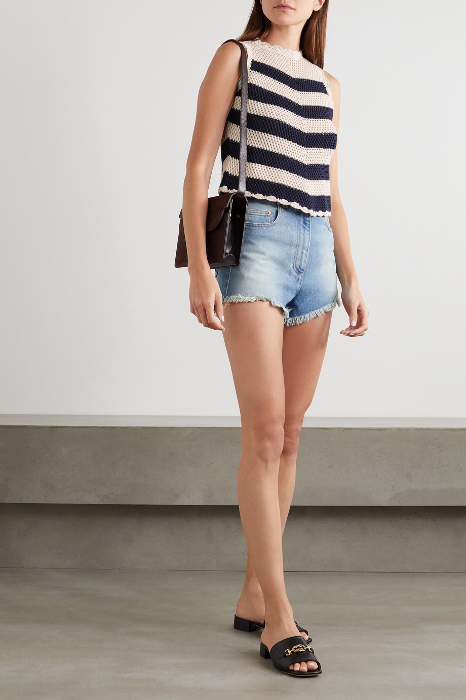 Gucci Appliquéd striped crocheted cotton-blend top