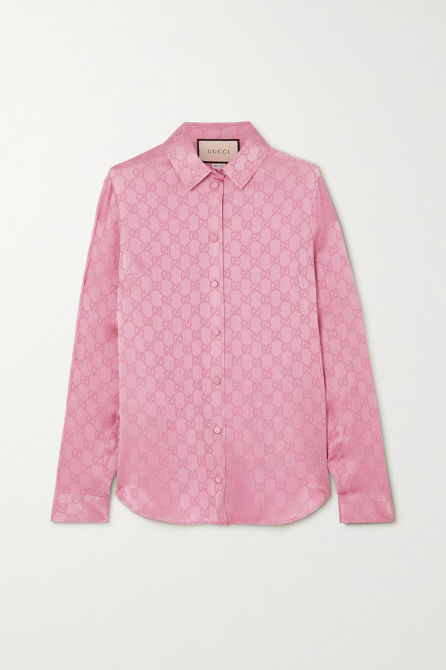 Gucci Hemd aus plissiertem Seiden-Jacquard