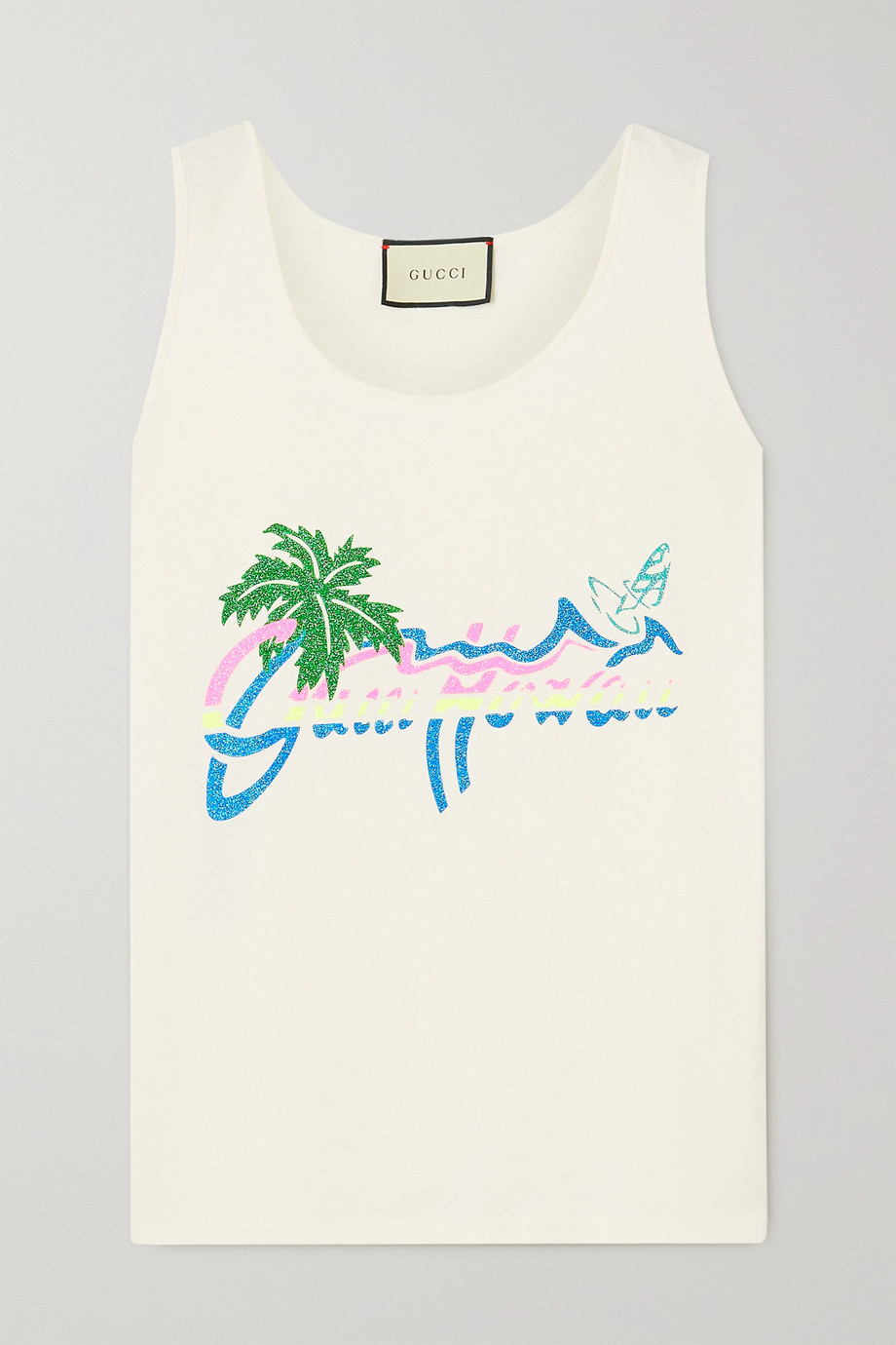 Gucci + NET SUSTAIN glittered printed organic cotton-jersey tank