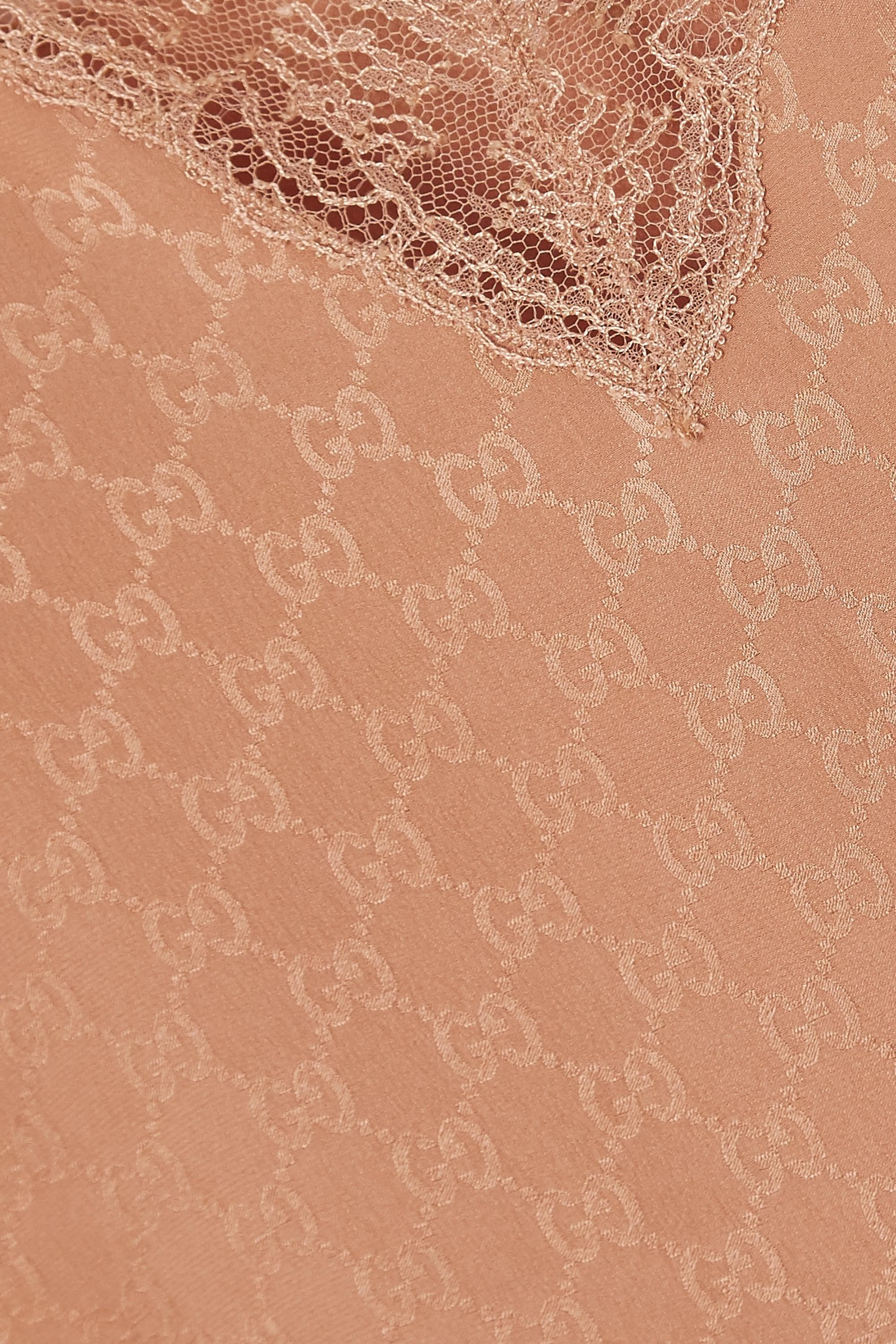 Gucci Caraco en jacquard de soie à finitions en dentelle