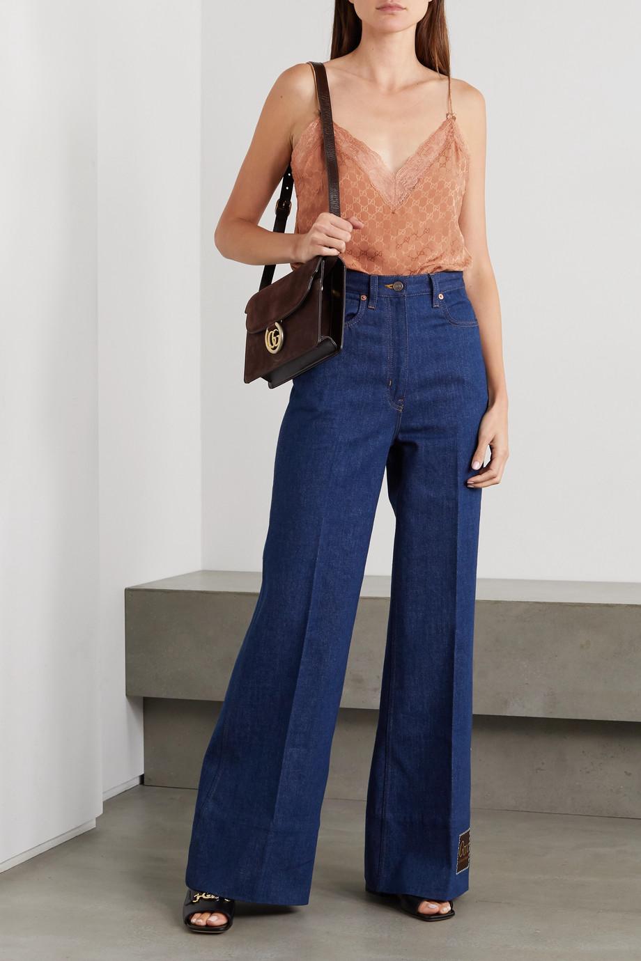 Gucci Lace-trimmed silk-jacquard camisole