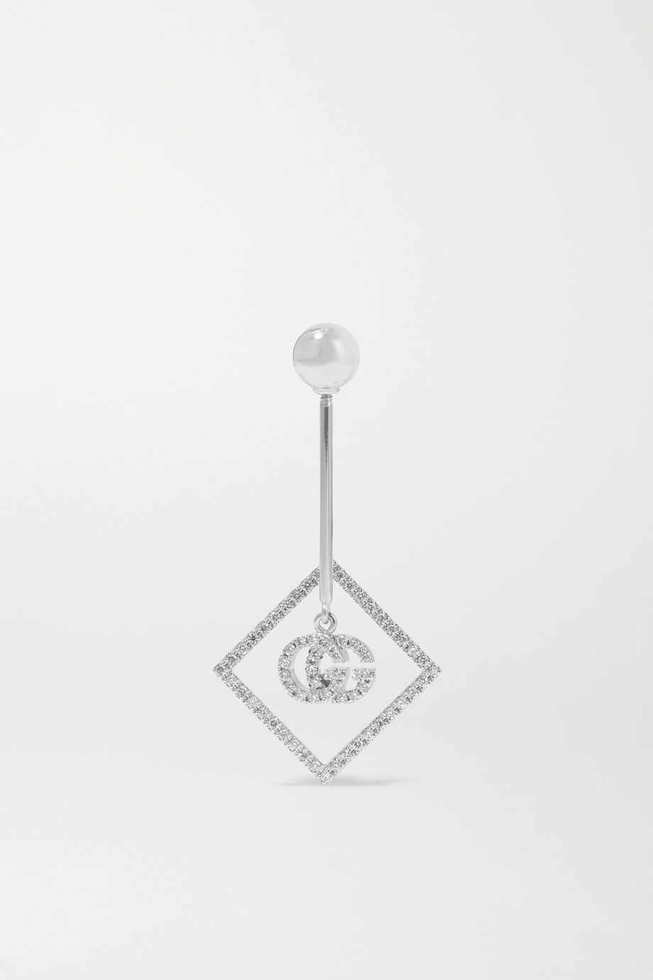 Gucci 18-karat white gold diamond earring