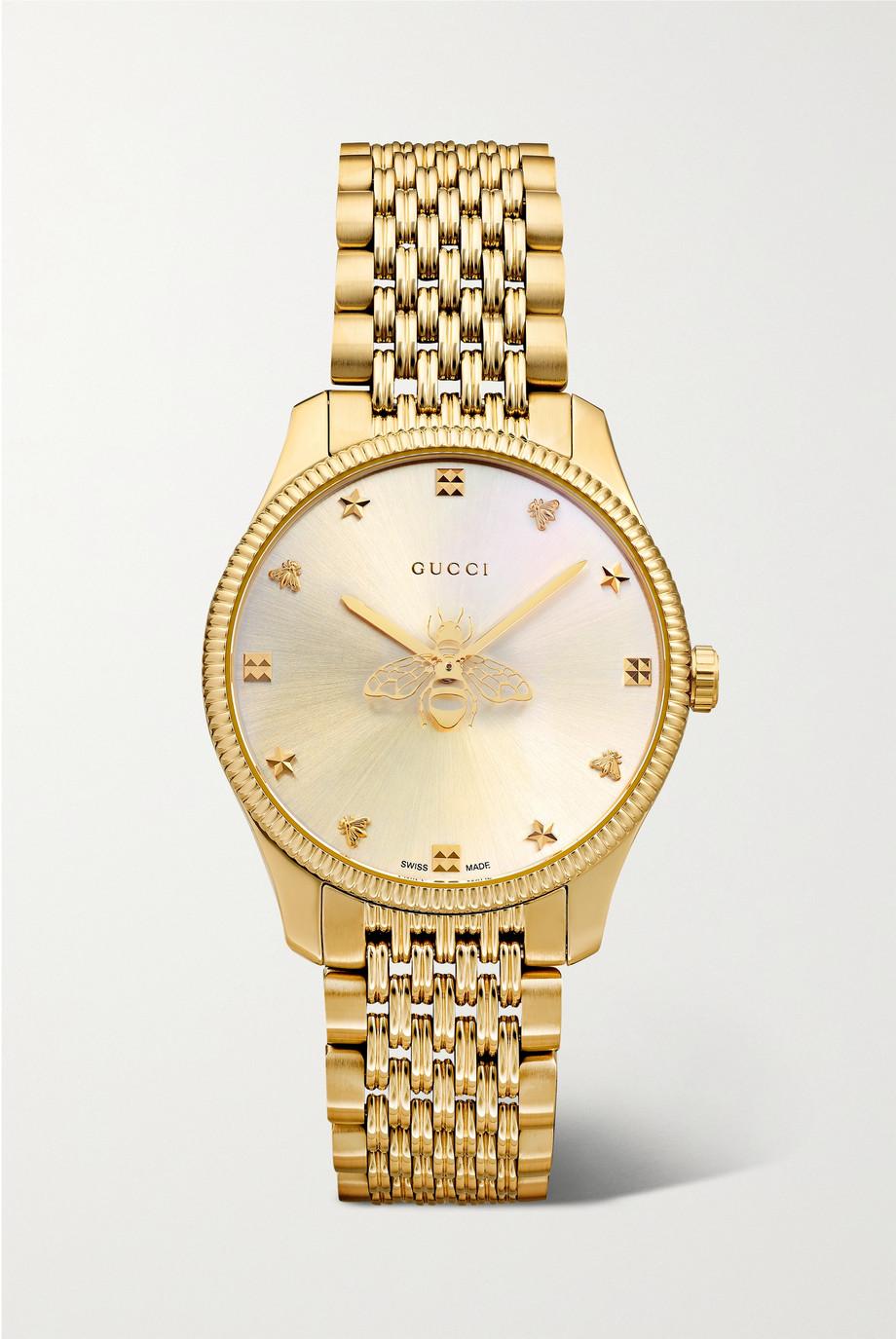 Gucci G-Timeless 29 mm Uhr mit goldfarbener PVD-Beschichtung