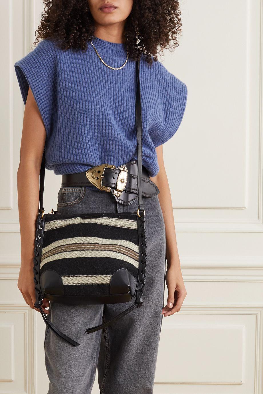 Isabel Marant Irope Schultertasche aus gestreifter Baumwolle mit Lederbesätzen