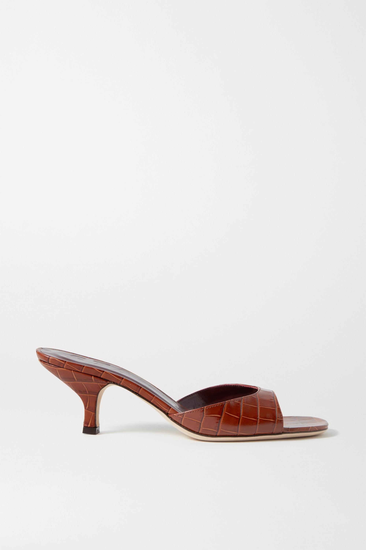 STAUD Gene croc-effect leather sandals