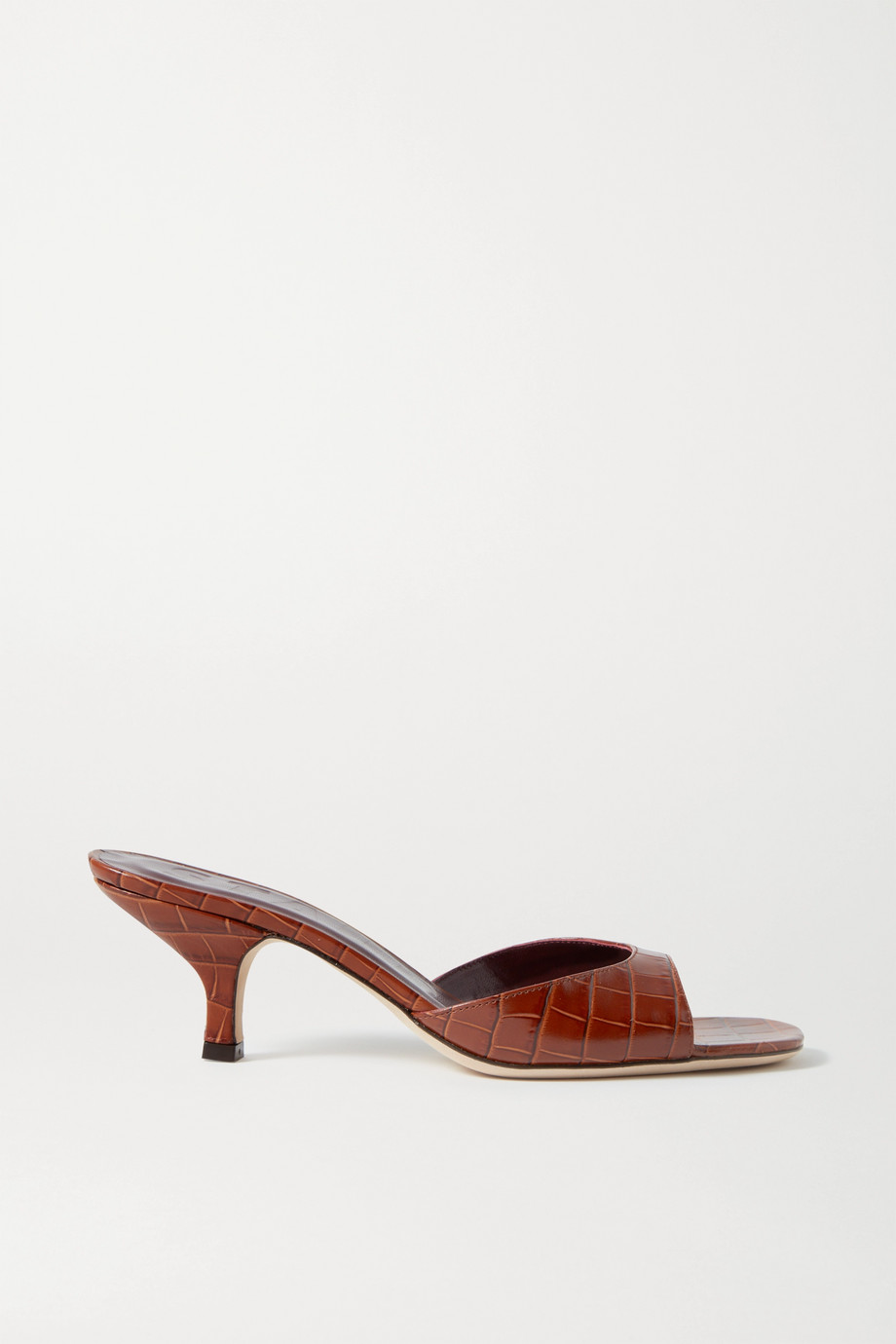 STAUD Gene croc-effect leather sandals