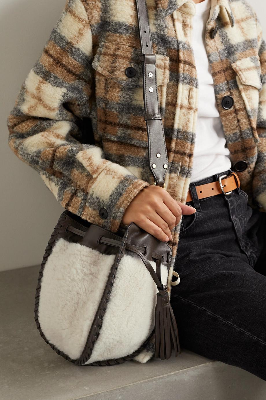 Isabel Marant Radja whipstitched leather-trimmed shearling bucket bag