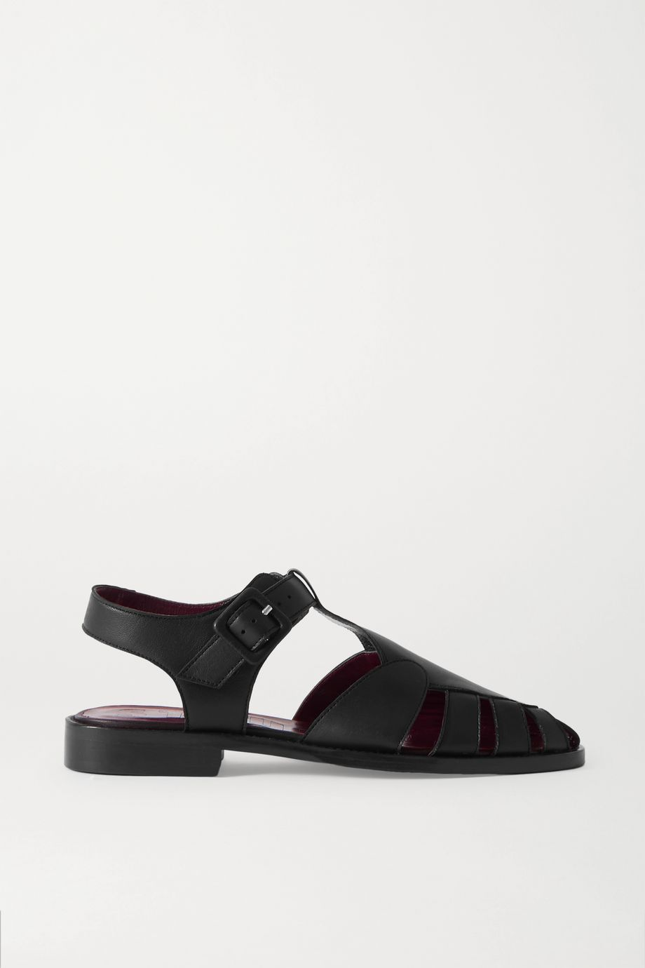 STAUD Brady cutout leather loafers