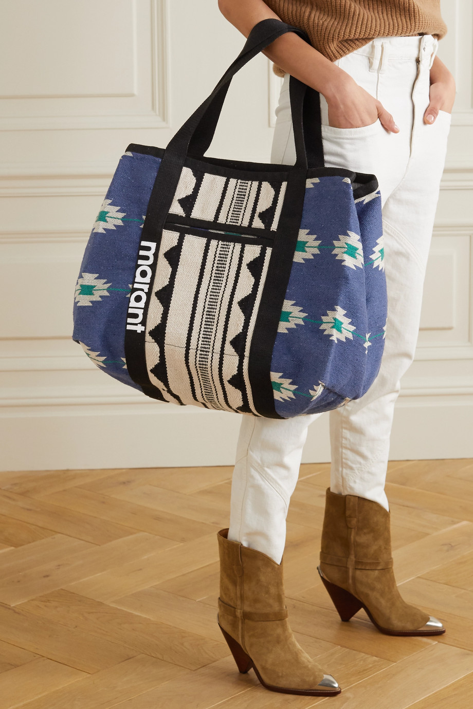 Isabel Marant Warden cotton-jacquard tote