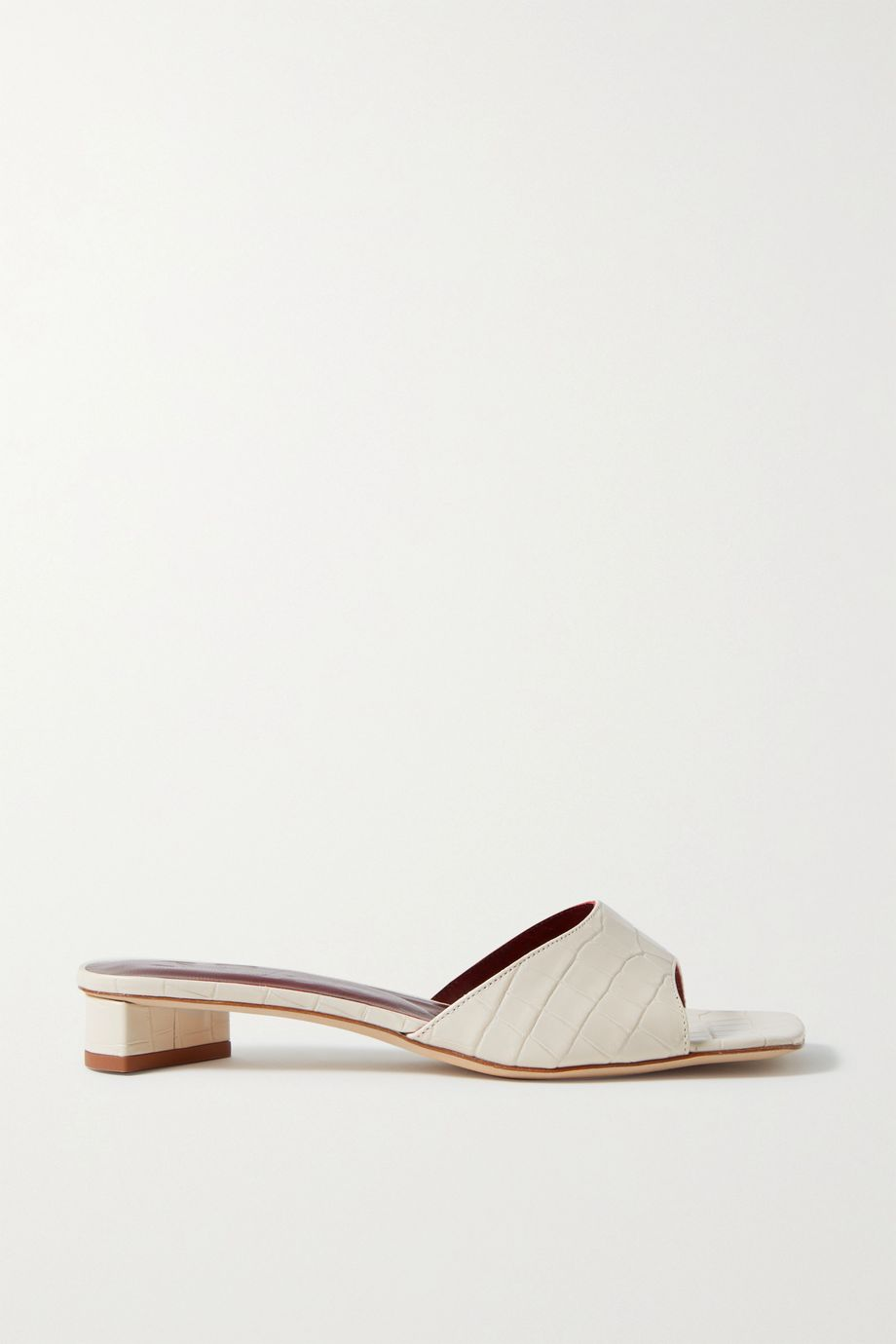 STAUD Simone croc-effect leather mules