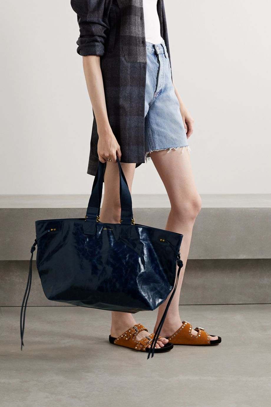 Isabel Marant Wardy canvas-trimmed crinkled glossed-leather tote